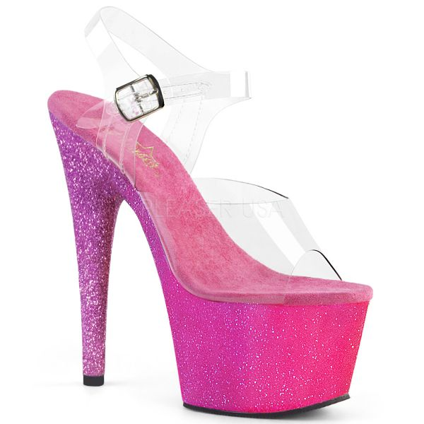 "Sandalette mit ""Ombre Effect"" Glitter Plateau in pink lavendel ADORE-708OMBRE"